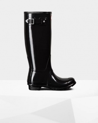 Hunter - Womens Original Tall Gloss Wellington Boots - Black