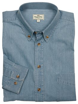 Hoggs of Fife Classic Chambray  Cotton Shirt Sea Blue