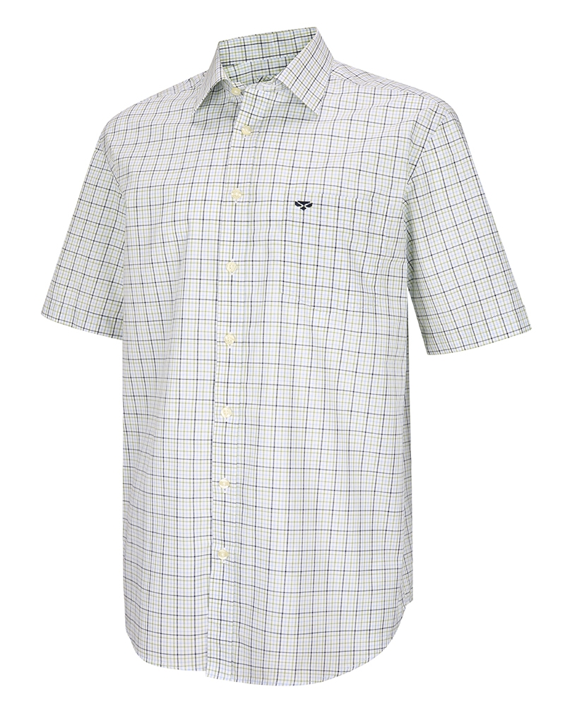 Hoggs Of Fife Muirfield Short Sleeved Shirt - Olive/Blue Check