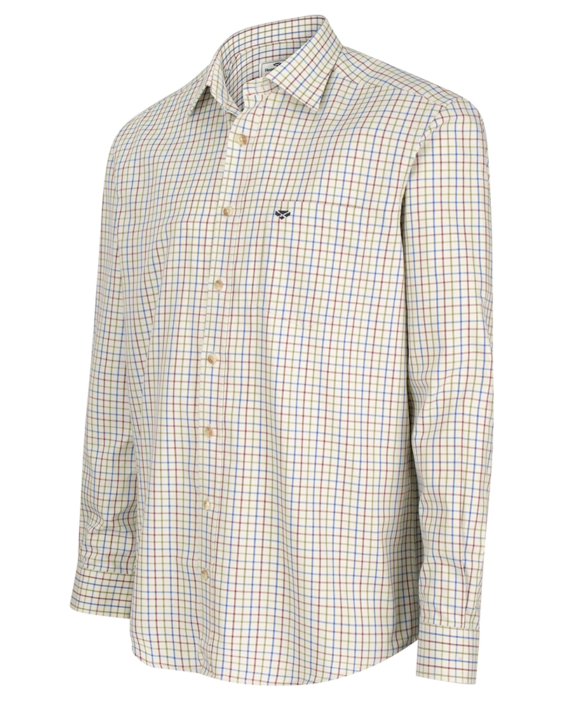 Hoggs of Fife Inverness Cotton Tattersall Shirt - Wine/Blue/Green