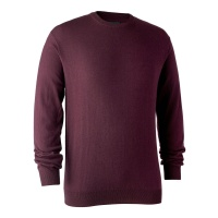 Deerhunter Kingston Knit with O-Neck - Burgundy