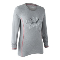 Deerhunter Lady Hazel T-Shirt with Long Sleeves - Greyhound Melange