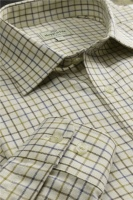 Hoggs of Fife Pure Cotton Tattersall Check Shirt - Brown/Gold/Navy