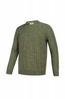 Hoggs of Fife Jedburgh Crew Neck Cable Pullover - Thyme