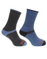 Hoggs of Fife - Tech-Active Sock - Charcoal/Denim (Twin Pack)