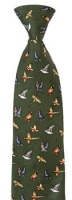Hoggs of Fife - Silk Country Tie Green - Mixed Game Birds Motif