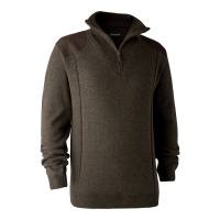 Deerhunter Sheffield Knit with Zip Neck - Dark Elm