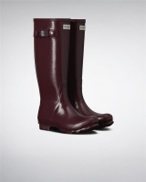 Hunter Womens Norris Field Gloss Wellington Boots - Burgundy