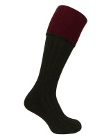 Hoggs of Fife - Contrast Turnover Top Stockings - Dark Green