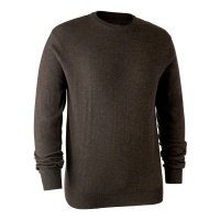 Deerhunter Kingston Knit with O-Neck - Dark Elm
