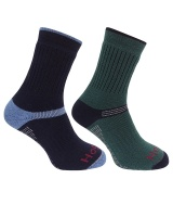 Hoggs of Fife - Tech Active Socks - Green/Navy (Twin Pack)