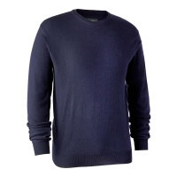 Deerhunter Kingston Knit with O-Neck - Dark Blue