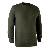 Deerhunter Kingston Knit with O-Neck - Green Melange