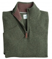 Hoggs of Fife Lothian 1/4 Zip Neck Pullover - Thyme