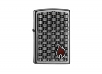 Zippo Gearbox Flame Satin Chrome Regular Lighter