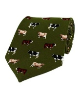 Hoggs of Fife Silk Country Tie - Cows Motif